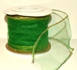 Hunter Green Wired Tulle with Gold Edge (3